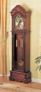 Beautiful Cherry Grandfather Clock Wood Curio Chime New