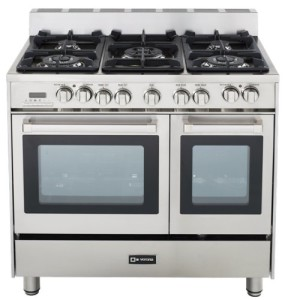 "Verona VEFSGE365DSS 36"" Double Oven Dual Fuel Range, 5 Sealed Gas Burners"