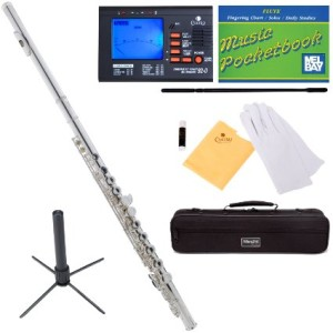 Mendini MFE-S+SD+PB+92D Silver Plated Closed Hole C Flute