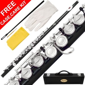 120-BK - BLACK/NICKEL Keys Closed C Flute Lazarro+Pro Case